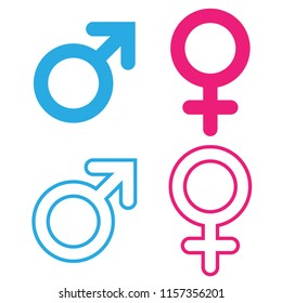 Gender symbol round corner pink and blue vector.male , female, boy, girl, man, woman icons.