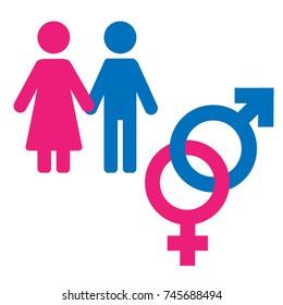 Gender symbol set. Male Female girl boy woman man icon.
