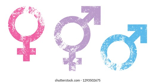 Gender symbol vector.male , female, transgender, boy, girl, man, woman grunge texture icons isolate on white background.