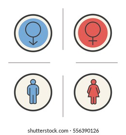 Gender symbols. Color icons set. Man and woman WC toilet door signs. Isolated vector illustrations