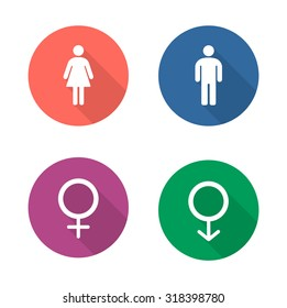 Gender symbols flat design icons set. Wc entrance man and woman long shadow emblems in color circles. Male and female silhouette toilet door signs. Boy and girl pictogram. Vector infographics elements