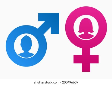 Gender Symbols Heads Man Woman Stock Vector (Royalty Free) 203496637