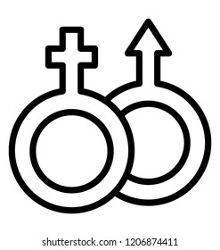 Gender symbols of male and female