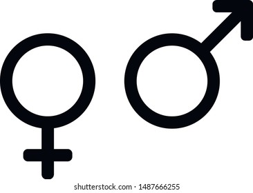 Gender symbols. Male and female, icon set. Black signs on a white background.