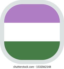 Genderqueer flag, rounded square shape icon on white background, vector illustration