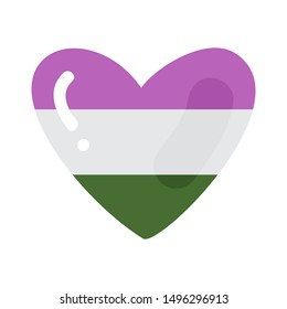 Genderqueer heart isolated on white background. LGBT pride symbol. Design element for banner, poster or leaflet.