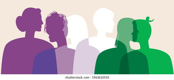 Genderqueer people, non-binary people. Silhouette vector stock illustration. Genderqueer as a LGBTQ community, triggered, binary, agender. People's faces in profile. Isolated illustration