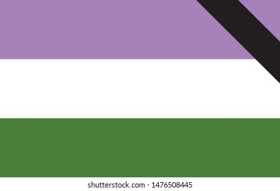 Genderqueer pride flag. Black Ribbon. Vector banner. Symbol of Genderqueer. LGBTQ social movements. memorial day.