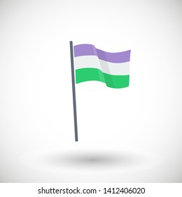 Genderqueer pride flag icon Flag with purple, white and green stripes waving in the wind Vector illustration LGBT flat design Isolated on white background
