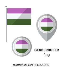 Genderqueer pride flag and map pointer. Gay pride symbol. Design element for banner, poster or leaflet. Flat design.
