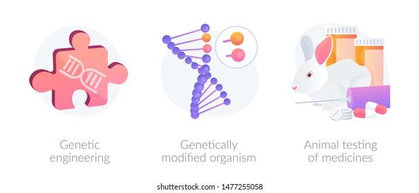 Gene manipulation. Genetic research. DNA recombination. Genetic engineering, GMO genetically modified organism, animal testing of medicines metaphors. Vector isolated concept metaphor illustrations