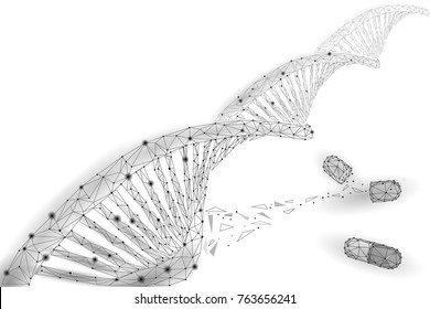 Gene therapy DNA 3D chemical molecule structure low poly. Polygonal triangle point line healthy cell part. Innovation medicine genome engineering vector illustration future business technology