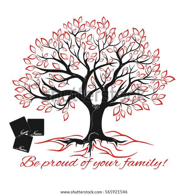 Genealogical Tree Concept Family Tree Template Stock Vektorgrafik