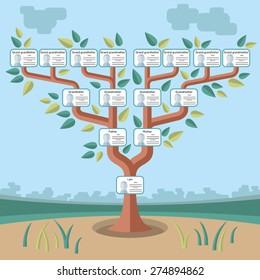 genealogical tree flat illustration