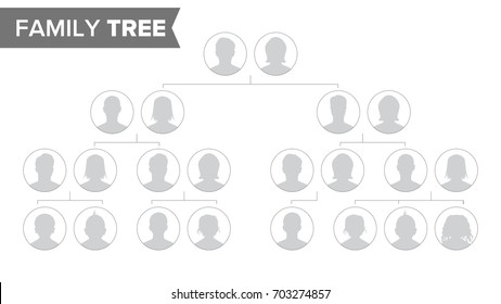 Genealogical Tree Vector. Family History Tree Blank With Avatar People.
