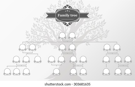 genealogical tree of your family hand drawn oak tree vector illustration vintage style
