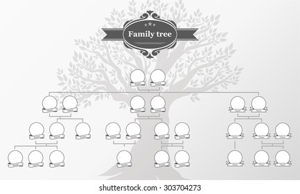Genealogical tree of your family. Hand drawn oak tree. Vector illustration.  Vintage style for retro design.