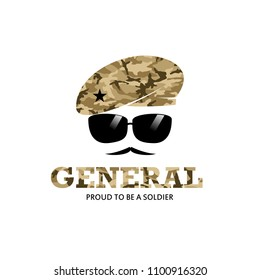 General Army Soldier Military with Logo with camouflage baret logo Illustration