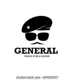 General Army Soldier Military Logo with baret Illustration