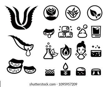 General attribute of aloe vera icon set. Herbal Products for Natural Beauty. Skin care idea.