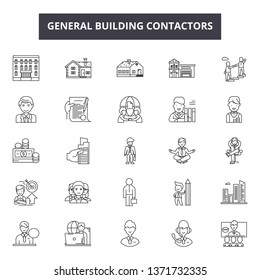 General building contractors line icons, signs set, vector. General building contractors outline concept, illustration: building,construction,contractor,general,builder,worker,industry,architecture