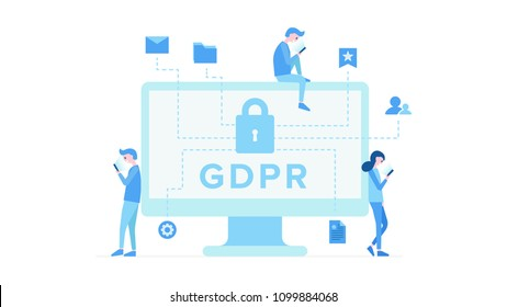 General Data Protection Regulation flat poster with big lock on pc screen and settings mail documents icons. Cartoon boys and girl near monitor using smartphone vector illustration. Security concept