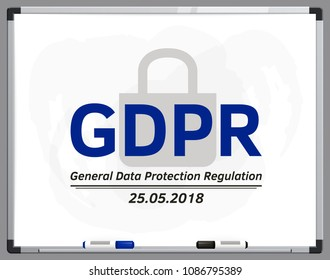 General Data Protection Regulation (GDPR). Words on whiteboard or noticeboard with marker pen. Concept illustration. Vector.
