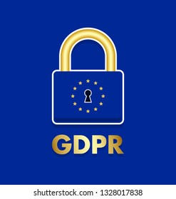 General Data Protection Regulation (GDPR) padlock icon. Vector illustration.