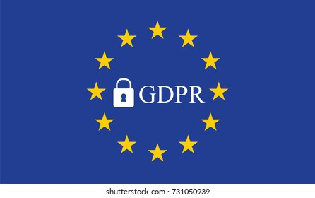 General Data Protection Regulation (GDPR) with padlock