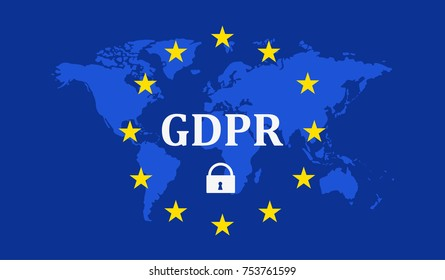 General Data Protection Regulation (GDPR) with padlock against the background of the Earth map Vector illustration.