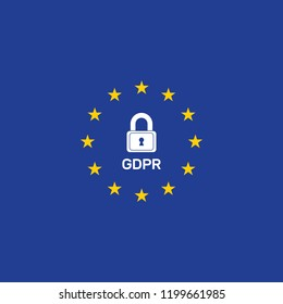 General Data Protection Regulation, logo, vector banner, stars in a circle, padlock closed
