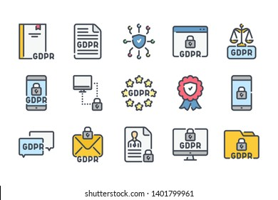 General Data Protection Regulation related color line icon set. GDPR colorful linear icons. Privacy policy flat color outline vector signs and symbols collection.