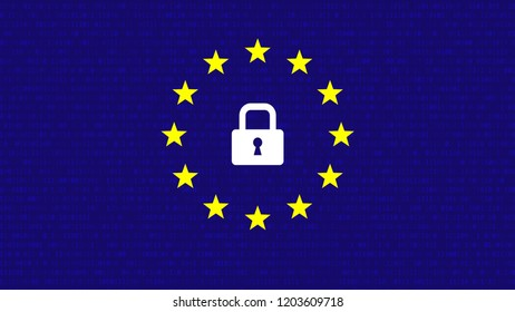 General Data Protection Regulation Vector Background with Stars and Lock.