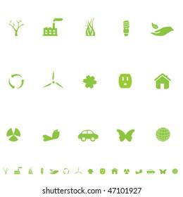 General eco symbols icon set in green
