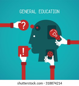 General education and creativity vector concept in flat style