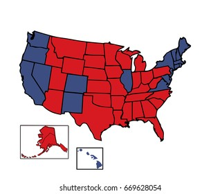 General electoral map of 50 United States colored in  Red, Blue for the general Presidential election fully customizable in vector format.