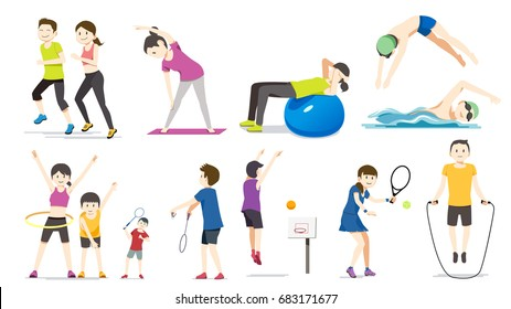 General exercise. People exercise character cartoon vector. Good family relationship.