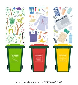 General, garden and recycle waste bins with different objects to sort and toss. Vertor set isolated on white