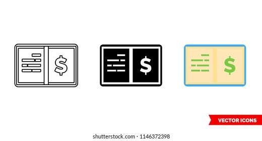 General ledger icon of 3 types: color, black and white, outline. Isolated vector sign symbol.