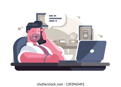 General manager in office vector illustration. Bearded man sitting at workplace with laptop and talking on smartphone flat style concept. Busy working day