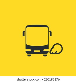 General modern bus icon. Front view of a common passenger bus with round headlights and exhaust smoke on yellow background. For maps, schemes, applications and infographics.