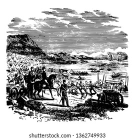 General pierce landed in Mexico during the American-Mexican war. He was a man of courage vintage line drawing.