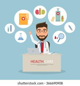 general practitioner. Vector illustration of a smiling doctor or family practitioner.