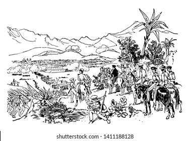 General taylor was leading soilders in the attack on northeren mexico city in the monterery in American-Mexican war vintage line drawing.