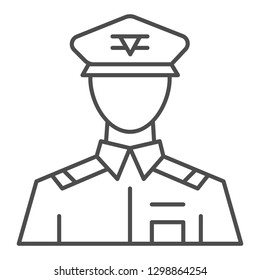 General thin line icon. Commander vector illustration isolated on white. Veteran outline style design, designed for web and app. Eps 10