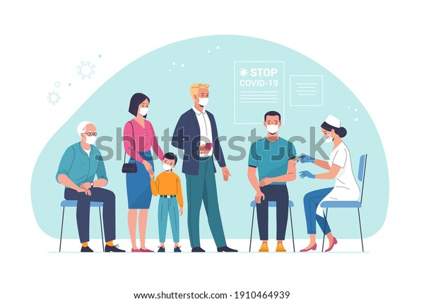 General vaccination against coronavirus. Vector illustration of a young man being vaccinated by a doctor and people of different ages waiting in line. Isolated on background