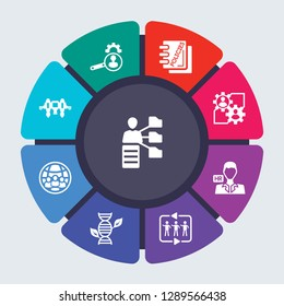general vector template for infographics. Business concept with 9 options, steps, parts, segments. Banner infographic cycling diagram, round chart, hr software, services, policies icons