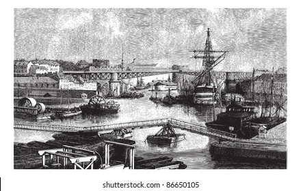 General view of the port of Brest. - Drawing Ph. Blanchard, vintage engraved illustration. Magasin Pittoresque 1874