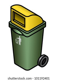 A general waste bin with a yellow chute/hood.