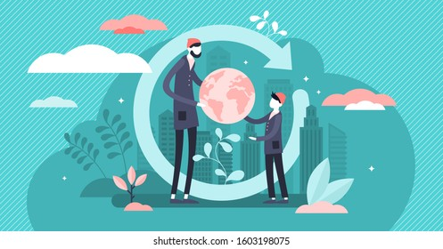 Generation change vector illustration. Power evolution in tiny persons concept. Give world heritage and legacy to youth. New responsibility about planet. Abstract symbolic global society shift process